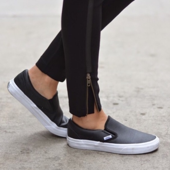 350c668af7e7 Vans Shoes | Classic Slip On Black Perforated Leather | Poshmark